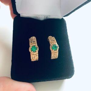 Jewelry - Emerald Green Zirconia Earrings 18K Gold Plated